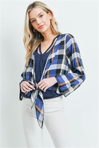 S11-18-2-T13661 NAVY CHECKERED TOP 2-2-2