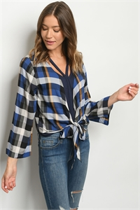 S19-12-2-T13661 NAVY CHECKERED TOP 2-1-2