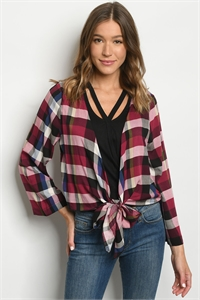 S12-12-3-T13661 WINE CHECKERED TOP 2-2-2