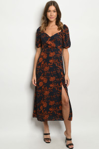 S19-11-2-D96057 NAVY RUST PRINT DRESS 1-2-1
