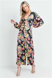 S13-11-2-J6803 BLACK MULTI FLORAL JUMPSUIT 3-2-1