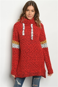 S25-8-1-SMCT1016 RED BLACK SWEATER 2-2-2