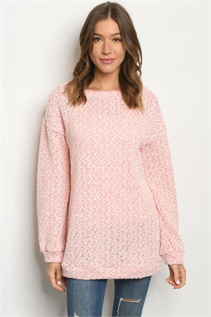 S12-9-3-SMCT1069 PINK IVORY SWEATER 2-2-2