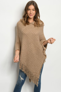 S12-9-4-P14707 TAN FAUX FUR PONCHO / 6PCS