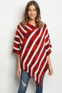 S12-8-4-P1007 RED WHITE PONCHO / 6PCS