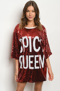 "S12-7-1-T0835 RED ""SPICY QUEEN"" SEQUINCE DRESS / 6PCS  ***WARNING: California Proposition 65***"