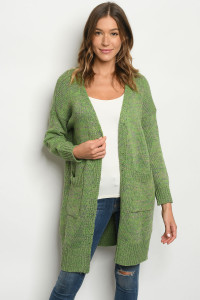 S22-10-1-C1711 GREEN CARDIGAN / 3PCS