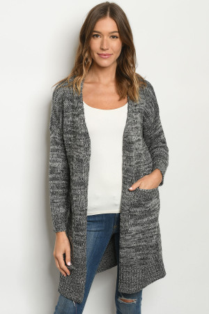 S12-7-5-C1711 GRAY CARDIGAN / 6PCS