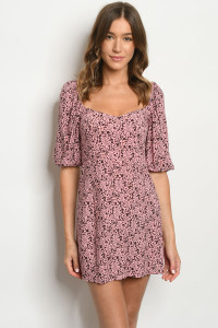 C65-A-1-D91243 DUSTY PINK ANIMAL PRINT DRESS 3-2-1