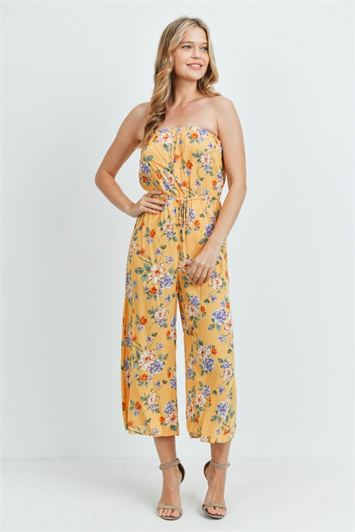 S21-12-3-J95066 YELLOW FLORAL JUMPSUIT 2-2-1