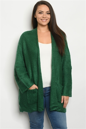 S16-10-1-C12315X GREEN PLUS SIZE CARDIGAN / 6PCS