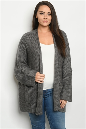 S17-10-1-C12315X CHARCOAL PLUS SIZE CARDIGAN / 6PCS
