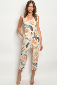 S15-1-2-J6863 CREAM WITH LEAVES JUMPSUIT 3-2-1