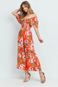 S16-3-2-J2171 ORANGE FLORAL JUMPSUIT 2-2-2