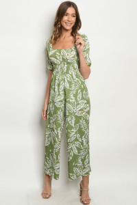 S15-2-2-J21466 GREEN WHITE WITH LEAVES JUMPSUIT 3-2-1