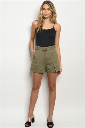 S19-7-2-S40943 OLIVE SHORTS 4-1-1