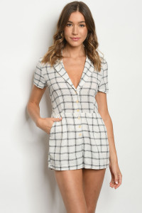 S16-2-3-R40839 OFF WHITE BLACK CHECKERED ROMPER 3-2-1
