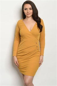 C17-A-2-D991X MUSTARD PLUS SIZE DRESS 2-2-2