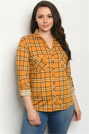 S25-8-2-T9873X MUSTARD CHECKERED PLUS SIZE TOP 2-2-2