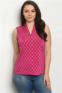 C75-B-1-T2197X FUCHSIA NAVY PRINT PLUS SIZE TOP 2-2-2