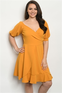 C69-A-1-D969X MUSTARD PLUS SIZE DRESS 2-2-2