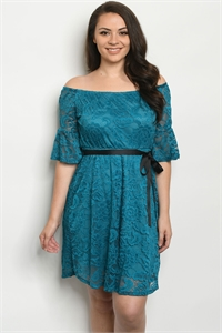 S13-6-3-D5989X TEAL PLUS SIZE DRESS 2-2-2