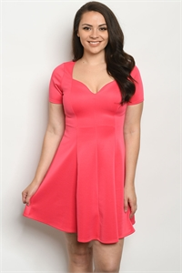 S13-9-3-D715X CORAL PLUS SIZE DRESS 2-2-2