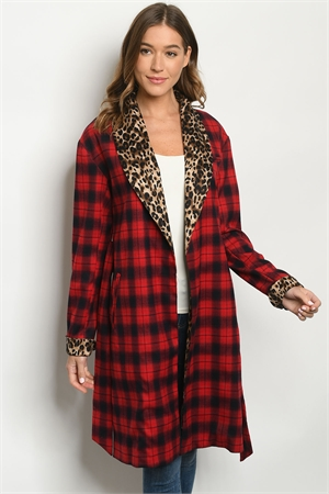 S23-5-1-J22169 RED CHECKERED ANIMAL PRINT JACKET 2-2-2