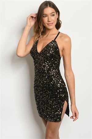 S19-5-1-D22063 BLACK GOLD WITH SEQUINS DRESS 3-2-1  ***WARNING: California Proposition 65***