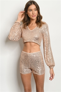 S16-4-2-ST22061 ROSE GOLD WITH SEQUINS TOP & SHORTS SET 3-2-1  ***WARNING: California Proposition 65***
