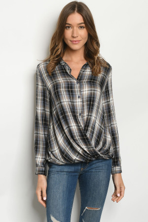 S17-10-4-T1275 GRAY CHECKERED TOP 1-1-1