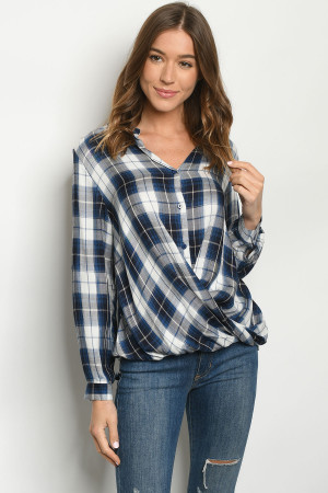 S17-10-4-T1275 BLUE CHECKERED TOP 1-1-1