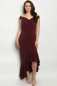 S10-5-1-D9103X BURGUNDY PLUS SIZE DRESS 1-2-1