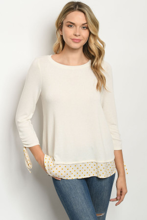 S17-3-2-T7858 CREAM WITH DOTS TOP 1-1-1