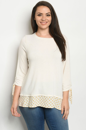 C33-A-1-T7857X CREAM WITH DOTS PLUS SIZE TOP 3-2-1