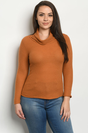 C25-B-2-T8790X RUST PLUS SIZE TOP 2-2-1-1