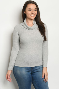 C23-B-2-T8790X GRAY PLUS SIZE TOP 2-2-1-1