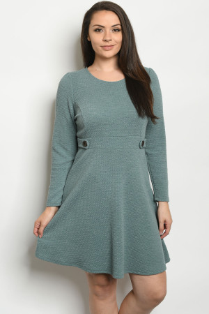 C5-A-3-D11298X GREEN PLUS SIZE DRESS 2-2-1-1