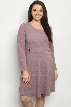 C3-A-1-D11298X MAUVE PLUS SIZE DRESS 2-2-1-1