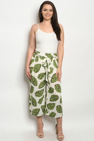 S11-3-1-P6162X IVORY LEAVES PLUS SIZE PANTS 1-2-2-1