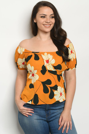 S10-19-3-T1860X MUSTARD WITH FLOWER PLUS SIZE TOP 2-2-2