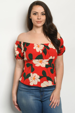 S10-19-2-T1860X RED WITH FLOWER PLUS SIZE TOP 2-2-2