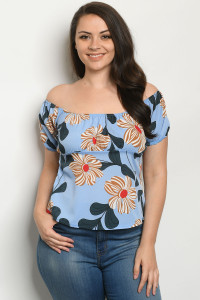 S12-9-2-T1860X BLUE WITH FLOWER PLUS SIZE TOP 2-2-2