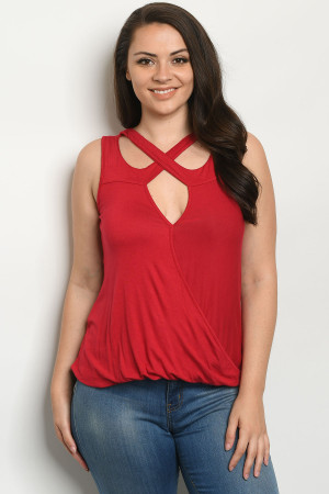 C93-A-1-T21079X RED PLUS SIZE TOP 2-1-1-1