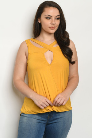 C83-A-2-T21079X MUSTARD PLUS SIZE TOP 2-1-1-1