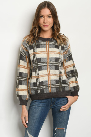 S23-7-2-S11434 BROWN CHECKERED SWEATER 3-2