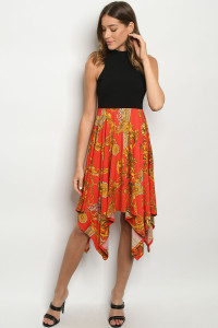 C18-A-2-D9980 BLACK RED PRINT DRESS 2-2-2