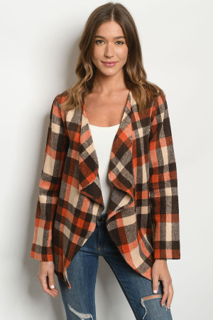 S22-13-3-C11379 BROWN CHECKERED CARDIGAN 1-2