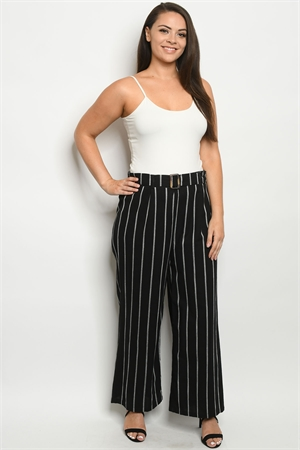 S22-5-1-P4366X BLACK STRIPES PLUS SIZE PANTS 2-2-2