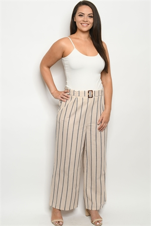 S25-2-1-P4366X SAND STRIPES PLUS SIZE PANTS 2-2-2